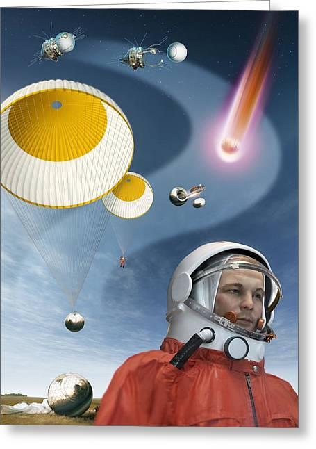 Ejected Greeting Cards - Gagarins Return To Earth, 1961 Greeting Card by Detlev Van Ravenswaay