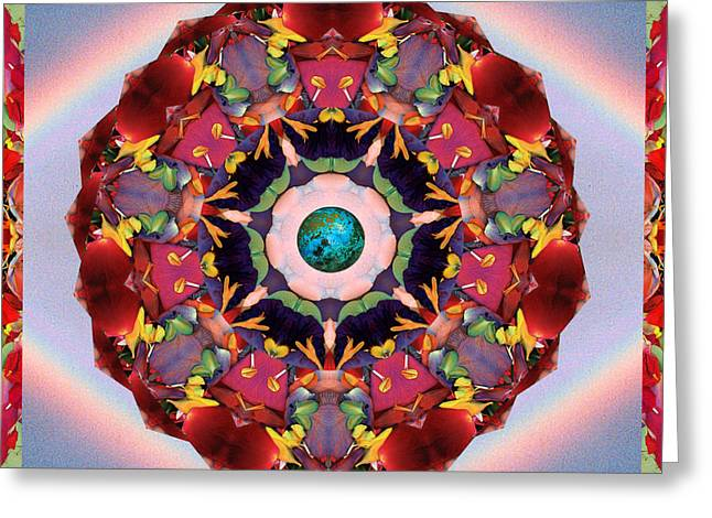 Red Chakra Greeting Cards - Gaian Arc Greeting Card by Bell And Todd