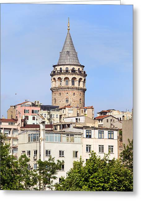 Stanbul Greeting Cards - Galata Tower in Istanbul Greeting Card by Artur Bogacki