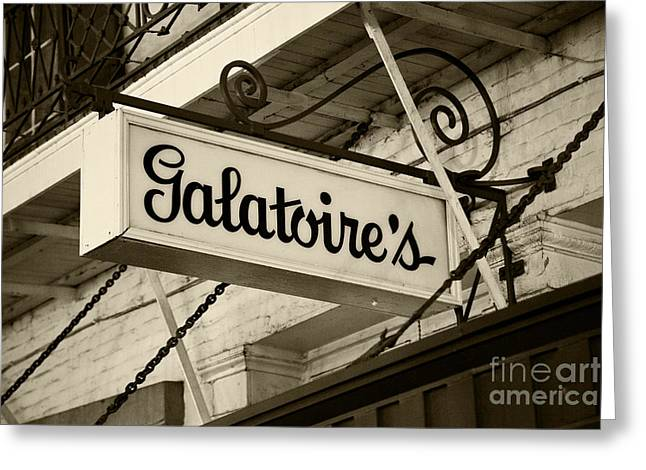 Galatoire's Friday Brunch Greeting Card by Leslie Leda