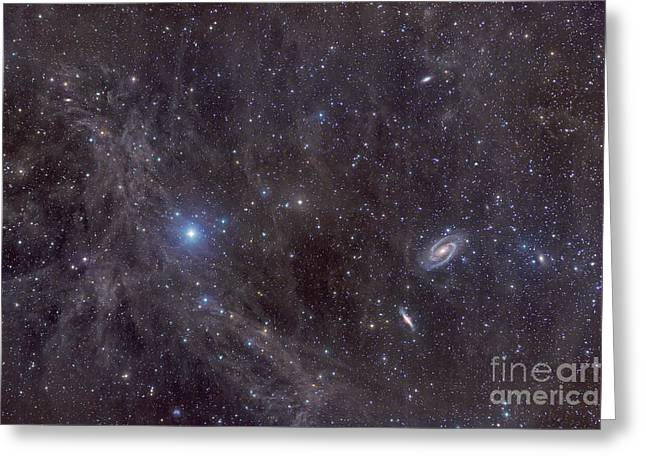 Intergalactic Space Greeting Cards - Galaxies M81 And M82 As Seen Greeting Card by John Davis