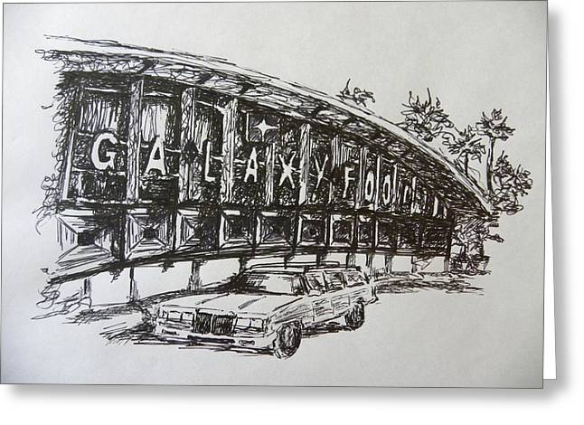 Station Wagon Drawings Greeting Cards - Galaxy Foods Greeting Card by Elle Hyde