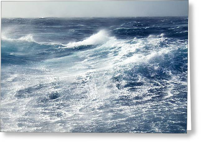 Ocean Spray Greeting Cards - Gale Force Winds Lash Huge Ocean Waves Greeting Card by Jason Edwards