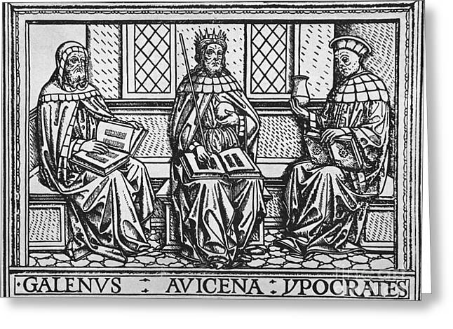 Hippocrates Greeting Cards - Galen, Avicenna And Hippocrates Greeting Card by Science Source