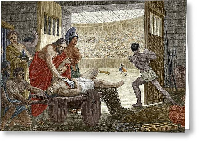 Galen Treating A Gladiator In Pergamum Greeting Card by Sheila Terry