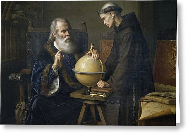 Padua Greeting Cards - Galileo Galilei demonstrating his new astronomical theories at the university of Padua Greeting Card by Felix Parra