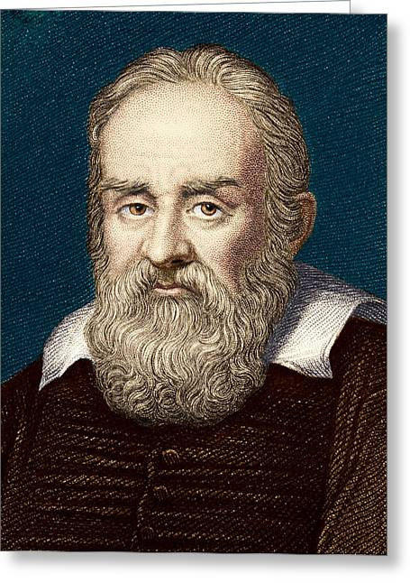 Surname G Greeting Cards - Galileo Galilei, Italian Astronomer Greeting Card by Sheila Terry