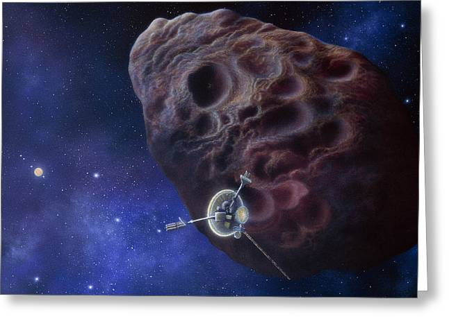 Galileo Greeting Cards - Galileo Passing An Asteroid Greeting Card by Julian Baum