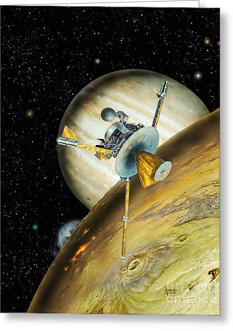 Probe Greeting Cards - Galileo Spacecraft with Io and Jupiter Greeting Card by David A Hardy and Photo Researchers