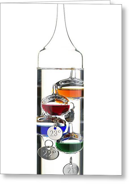 Galileo Greeting Cards - Galileo Thermometer Greeting Card by Mark Sykes