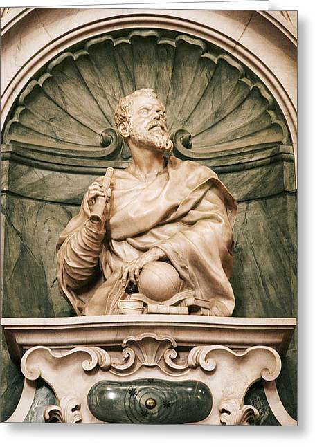 Statue Portrait Greeting Cards - Galileos Tomb, Florence, Italy Greeting Card by Sheila Terry