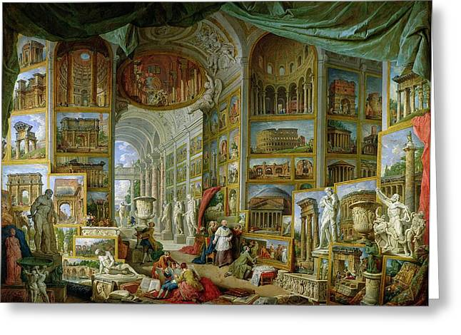 Sculptures Greeting Cards - Gallery of Views of Ancient Rome Greeting Card by Giovanni Paolo Pannini