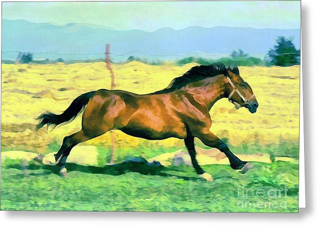 Recently Sold -  - Gold Lame Greeting Cards - Gallope Greeting Card by Odon Czintos