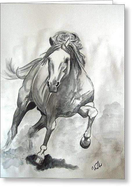 Galloping Horse Greeting Card by Ursula  Thuleweit Laranjeiro