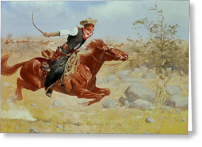 Galloping Horseman Greeting Card by Frederic Remington