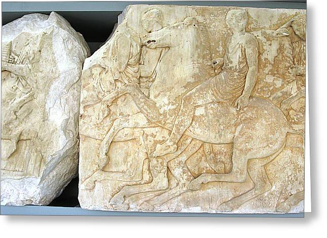 Greek Friezes Greeting Cards - Galloping horses Greeting Card by Andonis Katanos