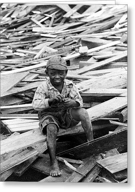 Negro Greeting Cards - Galveston Flood Survivor - September - 1900 Greeting Card by International  Images
