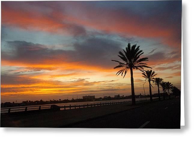 Skys Greeting Cards - Galveston Sunrise Greeting Card by Robert Anschutz