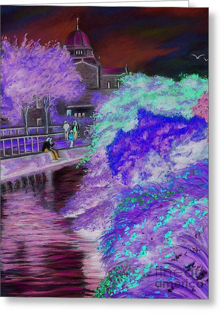 Vanda Luddy Greeting Cards - Galway Cathedral view fron the canal Greeting Card by Vanda Luddy