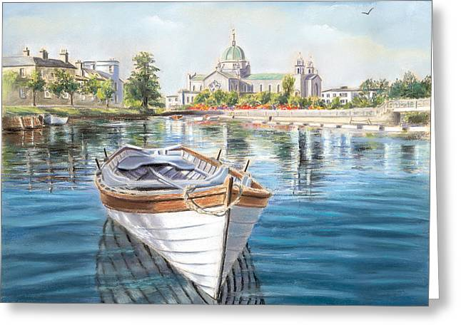 Urban Pastels Greeting Cards - Galway Cathedral View  Greeting Card by Vanda Luddy