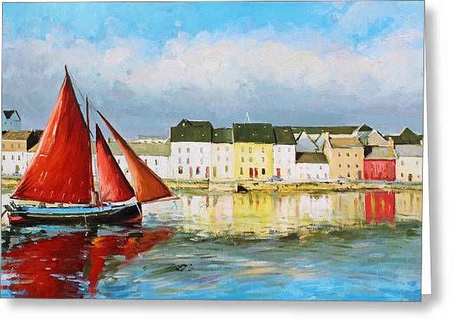 Fishing Village Greeting Cards - Galway Hooker Leaving Port Greeting Card by Conor McGuire