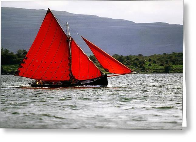 Recently Sold -  - Sailboat Images Greeting Cards - Galway Hookers, Kinvara, Co Galway Greeting Card by The Irish Image Collection