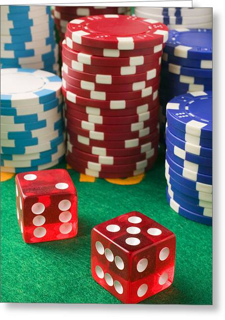 Profit Greeting Cards - Gambling dice Greeting Card by Garry Gay