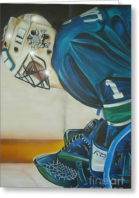 Canucks Paintings Greeting Cards - Game On Greeting Card by Gordon Paterson