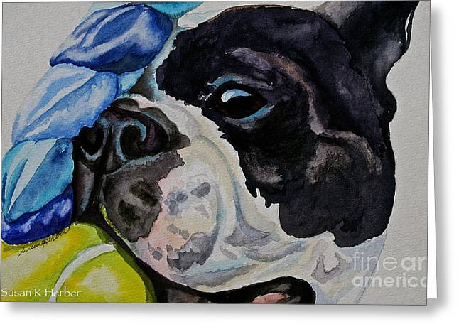 Boston Terrier Watercolor Greeting Cards - Gamer Greeting Card by Susan Herber