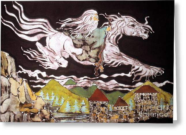 Flying Tapestries - Textiles Greeting Cards - Gandalf and Shadowfax Greeting Card by Carol Law Conklin
