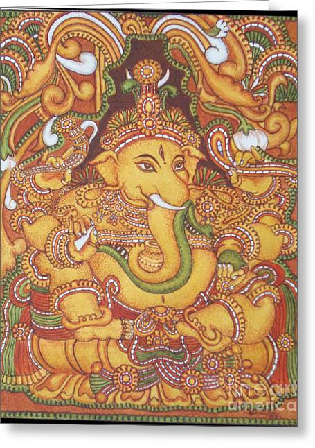 Kerala Murals Greeting Cards - Ganesa 1-kerala Mural Greeting Card by Asha Sasikumar