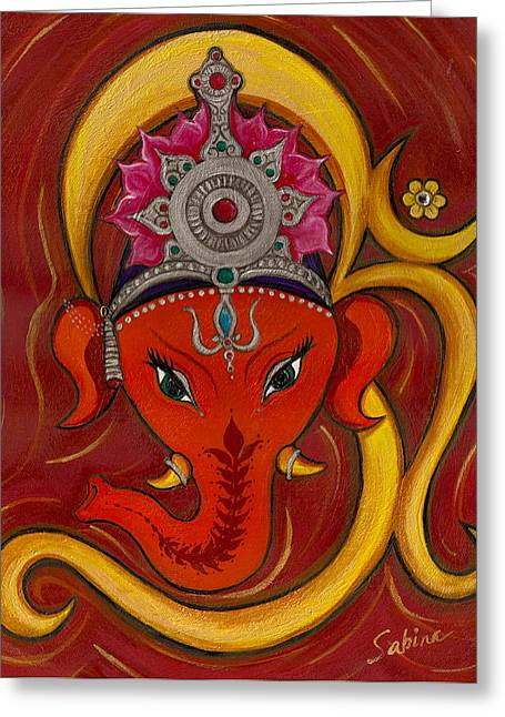 Ganesh Greeting Cards - GaneshaOm Greeting Card by Sabina Espinet