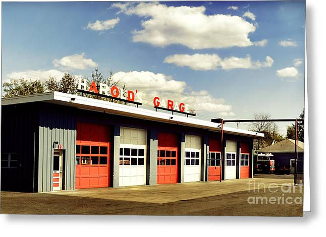 Fire Engines Greeting Cards - Garage Greeting Card by HD Connelly