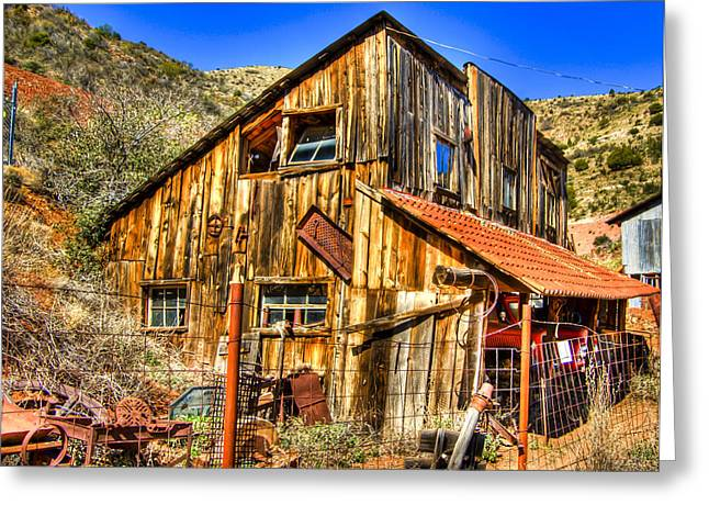 Old Relics Greeting Cards - Garage Shack Greeting Card by Jon Berghoff