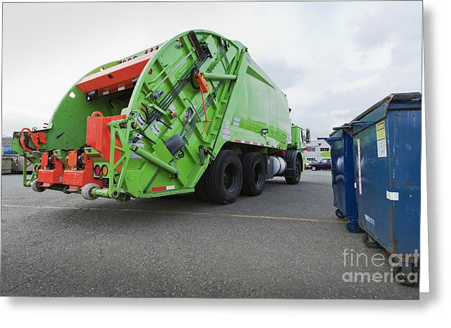 Garbage Truck Greeting Cards - Garbage Truck Parked In A Parking Lot Greeting Card by Don Mason