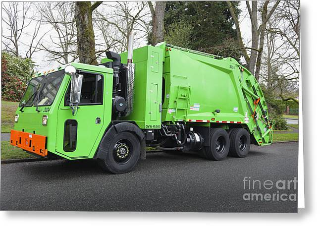 Garbage Truck Greeting Cards - Garbage Truck Parked On A Street Greeting Card by Don Mason