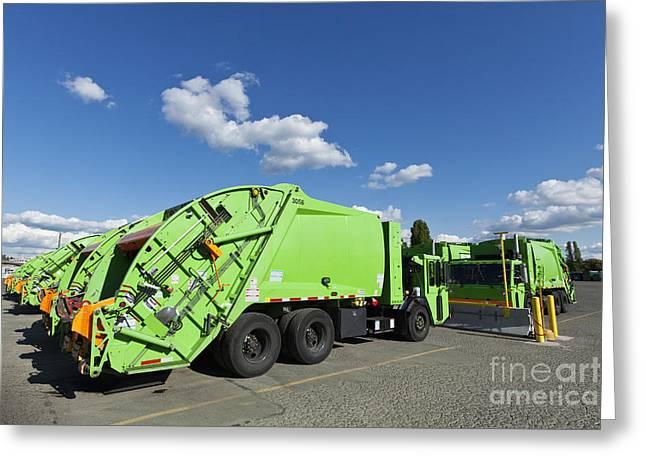 Garbage Truck Greeting Cards - Garbage Trucks Parked Greeting Card by Don Mason