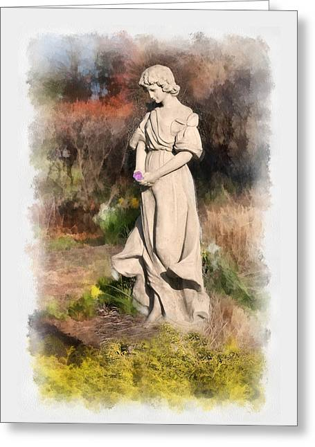 Garden Statuary Greeting Cards - Garden Angel Greeting Card by Ted Lang