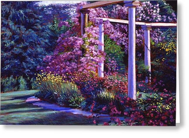 Most Paintings Greeting Cards - Garden Arbor Greeting Card by David Lloyd Glover