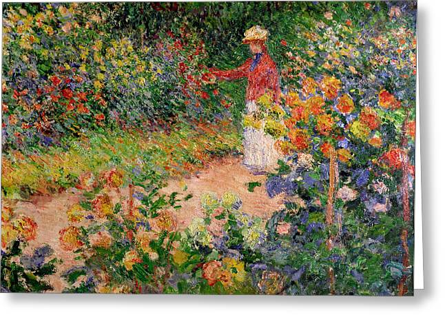 Monet Canvas Greeting Cards - Garden at Giverny Greeting Card by Claude Monet