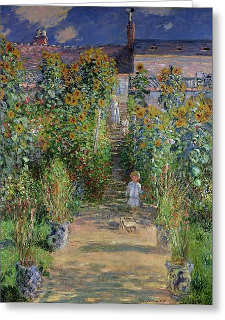 Blossoming Greeting Cards - Garden at Vetheuil Greeting Card by Claude Monet