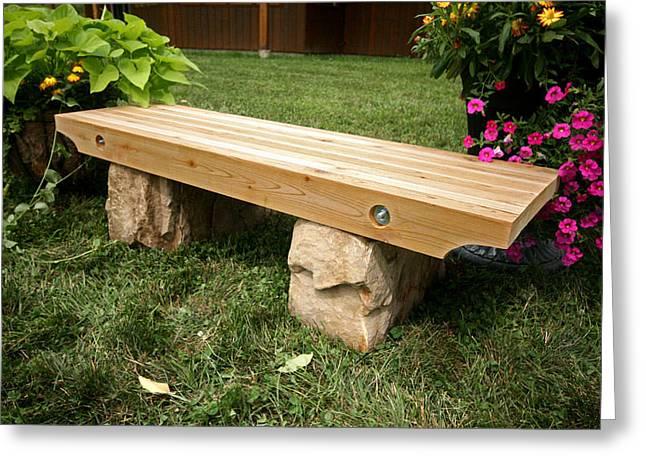 Cedar Sculptures Greeting Cards - Garden Bench Greeting Card by Ken Hall