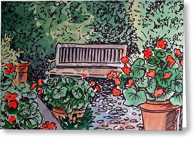 Sketch Book Greeting Cards - Garden Bench Sketchbook Project Down My Street Greeting Card by Irina Sztukowski
