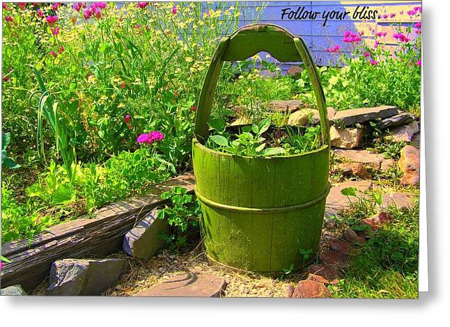 Motivational Poster Greeting Cards - Garden Bliss Greeting Card by Jen White