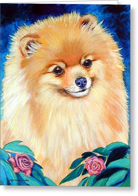 Pomeranian Greeting Cards - Garden Bud - Pomeranian  Greeting Card by Lyn Cook