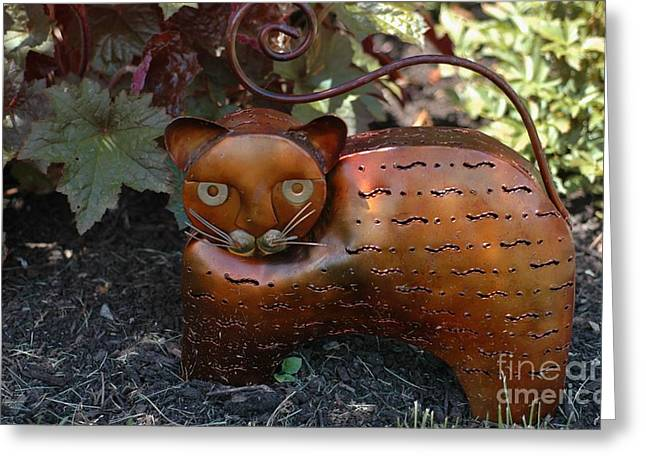 Garden Statuary Greeting Cards - Garden Cat Greeting Card by Kathleen Struckle