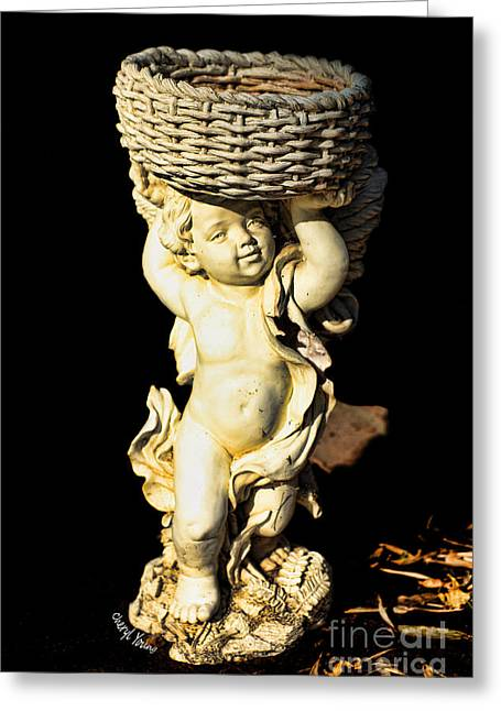 Flower Planter Greeting Cards - Garden Cherub Greeting Card by Cheryl Young