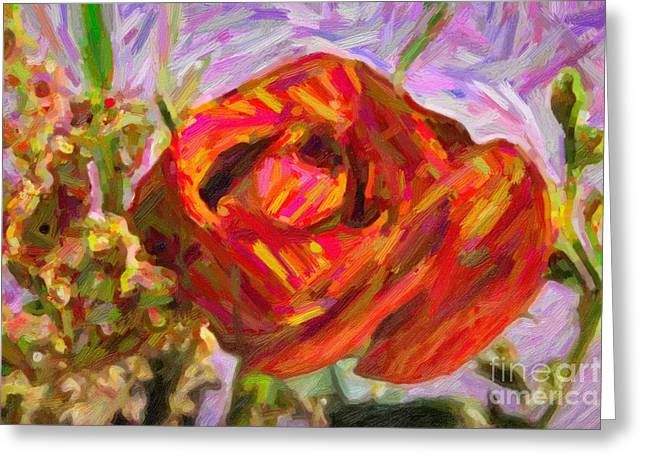 Flowers Stretched Prints Greeting Cards - Garden Delight Red Rose Greeting Card by M K  Miller