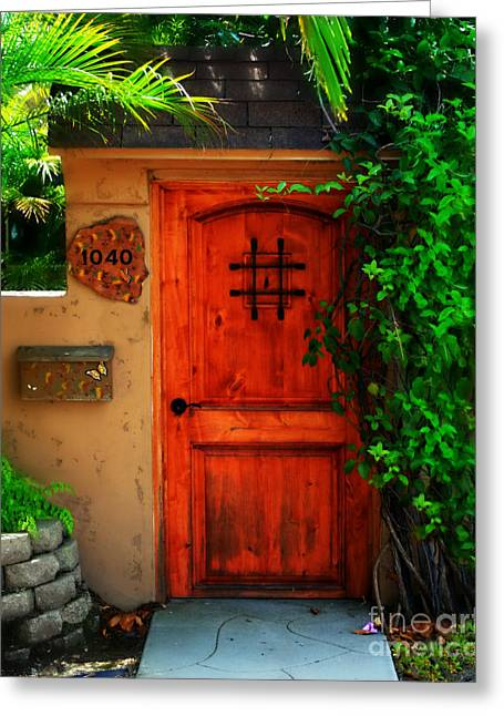 Adobe Greeting Cards - Garden doorway Greeting Card by Perry Webster