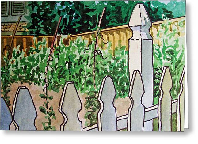 Sketch Book Greeting Cards - Garden Fence Sketchbook Project Down My Street Greeting Card by Irina Sztukowski